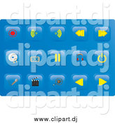 Vector Clipart of Media Button Icons on Blue by Rasmussen Images