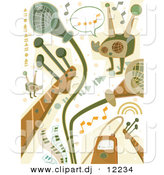 Vector Clipart of Music Doodles - Digital Collage - Green and Brown by BNP Design Studio