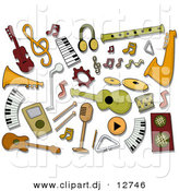 Vector Clipart of Music Instrument Icons - Digital Collage by BNP Design Studio