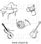 Vector Clipart of Music Instruments in Black and White by Vector Tradition SM