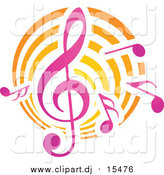 Vector Clipart of Music Notes and Clef by Vector Tradition SM