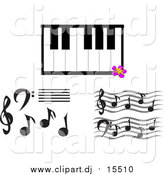 Vector Clipart of Music Notes and Keyboard by