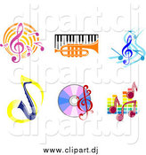 Vector Clipart of Music Notes, Instruments, and CDs by Vector Tradition SM