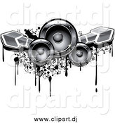 Vector Clipart of Music Speakers with Arrows and Grunge by Vector Tradition SM