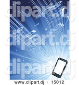 Vector Clipart of Music Streaming from a Smart Phone over Blue by AtStockIllustration