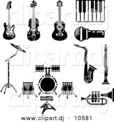 Vector Clipart of Musical Instruments and Items Including an Electric Guitar, Violin, Acoustic Guitar, Piano or Keyboard, Microphone, Saxophone, Clarinet, Drum Set and Trumpet by AtStockIllustration