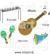 August 5th, 2015: Vector Clipart of Musical Instruments and Words by Bpearth
