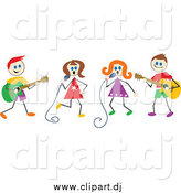 Vector Clipart of Musical Stick Kids in a Band by Prawny