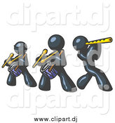 Vector Clipart of Navy Blue Men Playing Flutes and Drums in a Band by Leo Blanchette