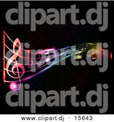 Vector Clipart of Neon Music Notes over Black by KJ Pargeter