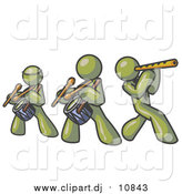 Vector Clipart of Olive Green Men Playing Flutes and Drums at a Music Concert by Leo Blanchette