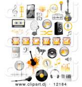 Vector Clipart of Orange and Black Music Icons - Digital Collage by Anja Kaiser