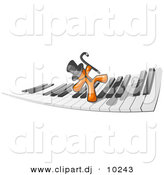 Vector Clipart of Orange Man Dancing on Piano Keyboard Keys by Leo Blanchette