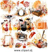Vector Clipart of Orange Musical Instruments, Women and Design Elements by OnFocusMedia