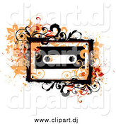 Vector Clipart of Orange Vines and Grunge Splatters Around a Cassette Tape by OnFocusMedia