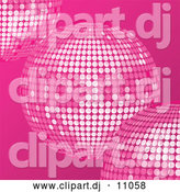 Vector Clipart of Pink Disco Balls over a Pink Background by Elaineitalia