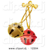 January 15th, 2016: Vector Clipart of Red and Gold Jingle Bells by Pams Clipart