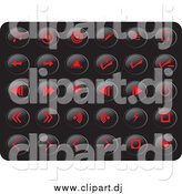 Vector Clipart of Red Media Button Icons on Black by Rasmussen Images