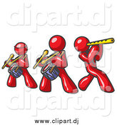 Vector Clipart of Red Men Playing Flutes and Drums in a Band by Leo Blanchette
