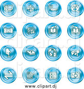 Vector Clipart of Round Blue Icons by AtStockIllustration