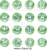 Vector Clipart of Round Green Computer and Music Icons by AtStockIllustration