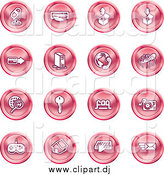 Vector Clipart of Round Pink Media and Computer Icons by AtStockIllustration