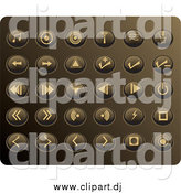 Vector Clipart of Round Tan Media Button Icons on a Gold Background by Rasmussen Images