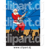 September 25th, 2014: Vector Clipart of Santa Playing a Guitar on a Stage by David Rey