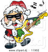 October 13th, 2015: Vector Clipart of Santa Wearing Shades, Rocking out and Playing a Guitar by Dennis Holmes Designs