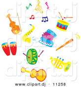 Vector Clipart of Sax, Accordion, Colorful Music Notes, a Cello or Violin, Drums, Flute, Tuba and Guitar - Cartoon Digital Collage Set by Alex Bannykh