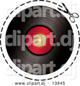 Vector Clipart of Scissors Cutting on a Dotted Line Around a Vinyl Record by Michaeltravers