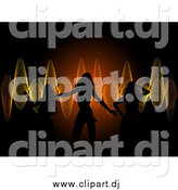 Vector Clipart of Sexy Silhouetted Ladies Dancing over a Background of Orange and Yellow Sound Waves by Elaineitalia