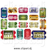 Vector Clipart of Shiny Admit One Tickets by MilsiArt