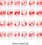 Vector Clipart of Shiny Red Square Website Icons by Cidepix