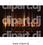 Vector Clipart of Silhouetted Dancers on a Floor Under Orange Vertical Lights by KJ Pargeter