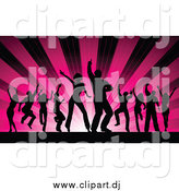 Vector Clipart of Silhouetted Dancers over Pink Shining Rays by KJ Pargeter