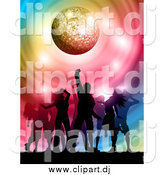 Vector Clipart of Silhouetted Dancers Under a Sparkly Disco Ball with Colorful Swirls by KJ Pargeter