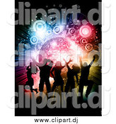 Vector Clipart of Silhouetted Fun People Dancing over a Disco Burst with Circles and Stars by KJ Pargeter