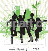 Vector Clipart of Silhouetted Guys in a Band, Rocking out and Playing a Guitar Against a Green Background by OnFocusMedia