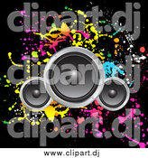 Vector Clipart of Speakers over a Black Background with Colorful Splatters by KJ Pargeter