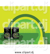 October 15th, 2014: Vector Clipart of Stereo Speakers in a Puddle over a Green and Yellow Rainbow Background by Elaineitalia