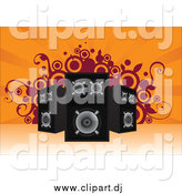 Vector Clipart of Stereo Speakers Pointed in Different Directions over an Orange Background with Vines and Circles by Paulo Resende