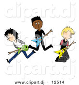 Vector Clipart of Three Male Guitarists in a Rock Band by Pams Clipart
