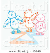 Vector Clipart of Three Singing Chicks by Cherie Reve