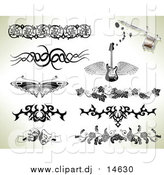 September 2nd, 2015: Vector Clipart of Tribal and Ornate Tattoo Designs over Sepia by AtStockIllustration