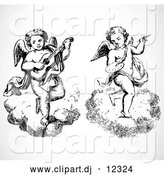 Vector Clipart of Two Angels, One Playing Music, While Floating on Clouds - Black and White by BestVector