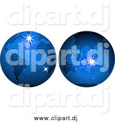 Vector Clipart of Two Blue Disco Ball Globes by Elaineitalia