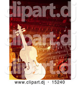 Vector Clipart of Two Violins over Sheet Music by Eugene