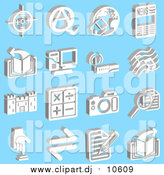 January 26th, 2016: Vector Clipart of Viewfinder, Questions and Answers, Home and Globe, News, Book, Computer, Wireless Router, Music Notes, Castle, Math Symbols, Camera, Magnifying Glass, Button and Letter, over a Blue Background by AtStockIllustration
