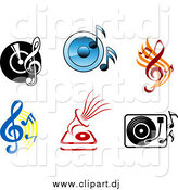 Vector Clipart of Viny Records with Radios, Players, Speakers and Music Notes by Vector Tradition SM